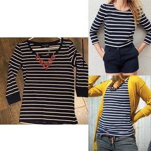 Jones New York   S -navy striped 1/4 sleeve shirt